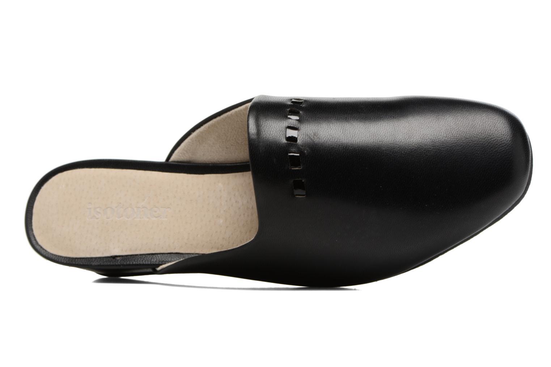 Chaussons Isotoner Mule talon cuir Noir vue gauche