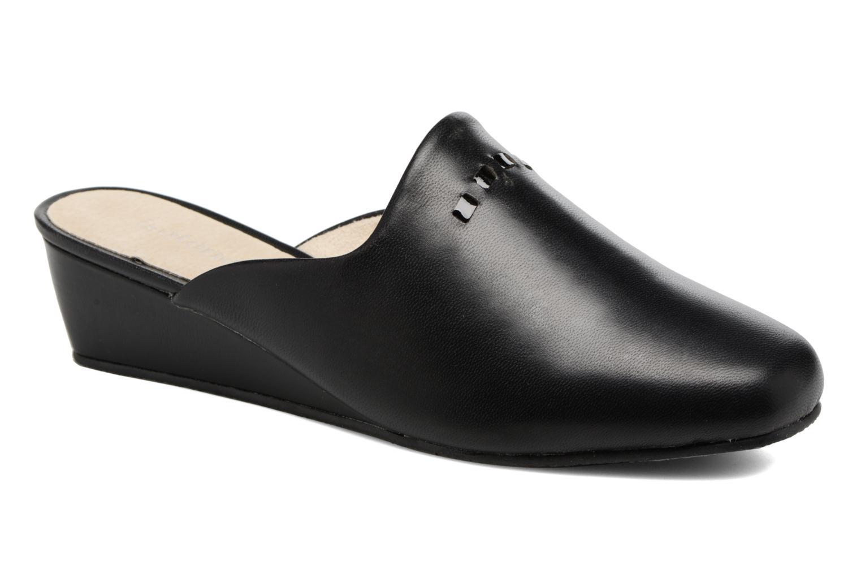 Chaussons Isotoner Mule talon cuir Noir vue détail/paire