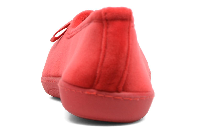 Chaussons Isotoner Ballerine ergonomique micro velours Rouge vue droite