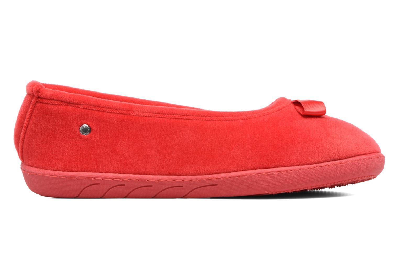 Chaussons Isotoner Ballerine ergonomique micro velours Rouge vue derrière
