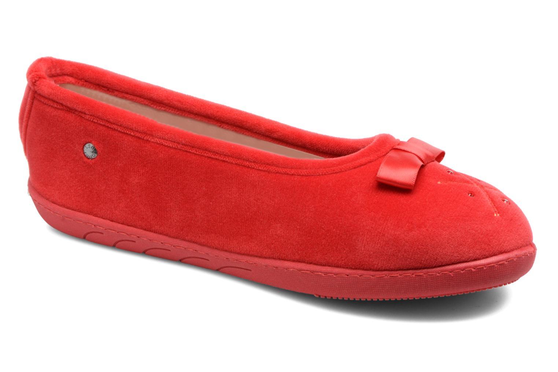 Chaussons Isotoner Ballerine ergonomique micro velours Rouge vue détail/paire