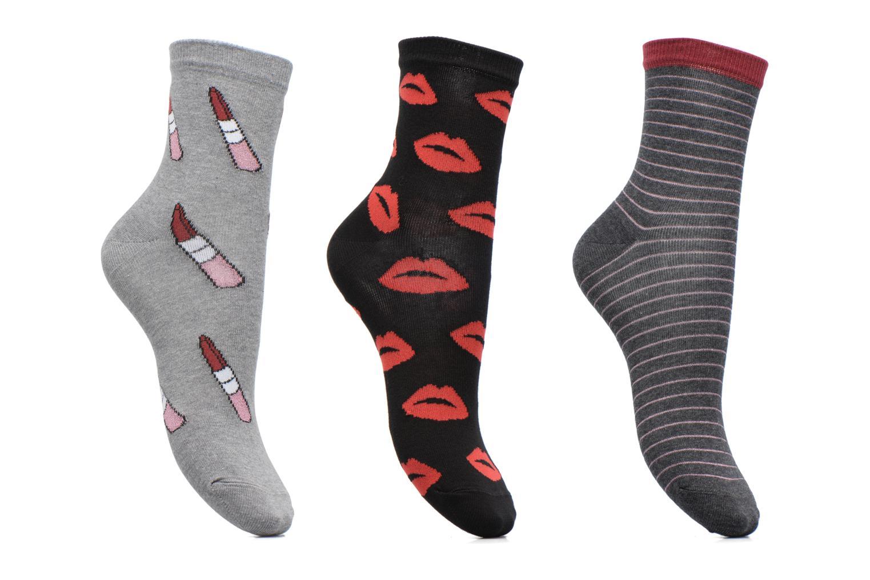 Chaussettes Femme Bouches & rouge à lèvres pack de 3 Coton Gris Chiné / Noir