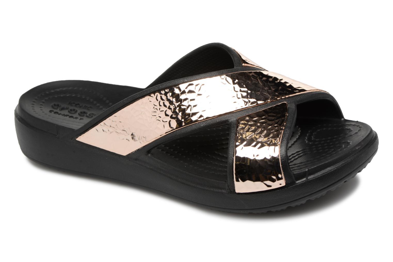 Sloane Hammered Xstrp Slide W Black/Rose Gold