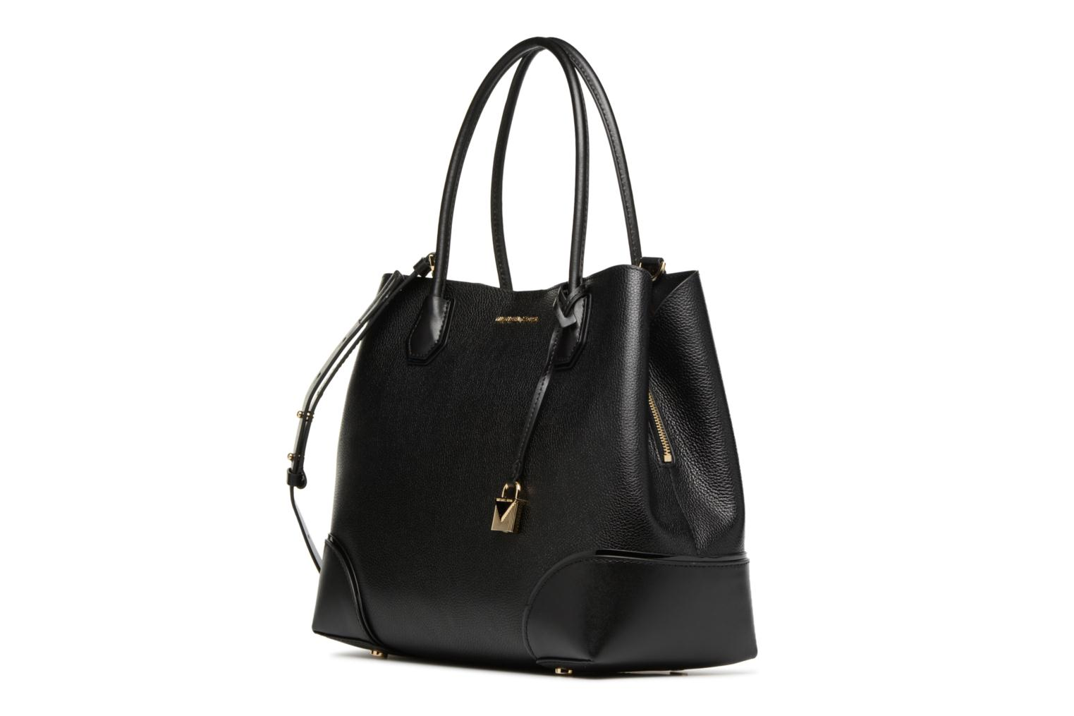 Borse Michael Michael Kors Cabas Mercer Gallery LG CENTER ZIP TOTE Nero modello indossato