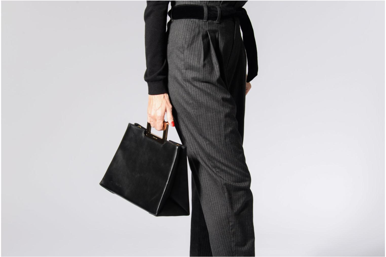 Bolsos de mano Michael Michael Kors Kristen LG TH SATCHEL Negro vista de arriba