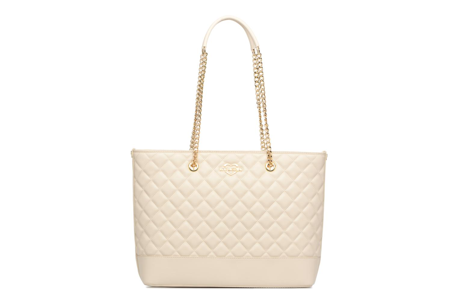 Sacs à main Love Moschino Cabas Chaine Super Quilted Blanc vue face