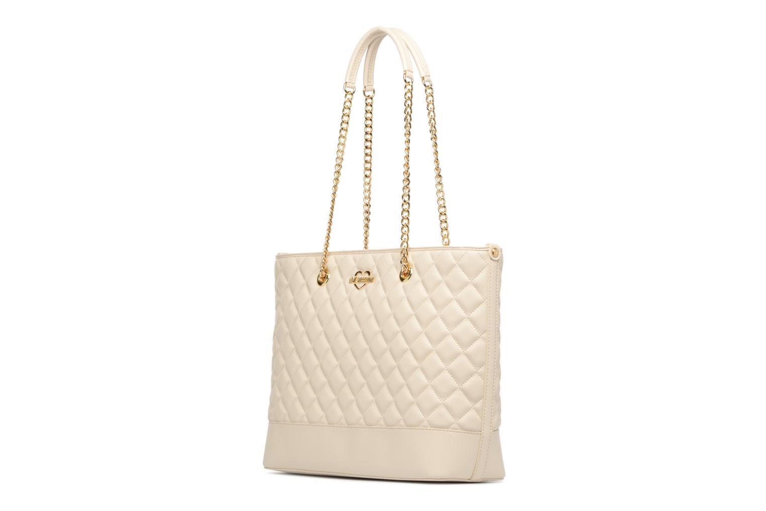Sacs à main Love Moschino Cabas Chaine Super Quilted Blanc vue droite