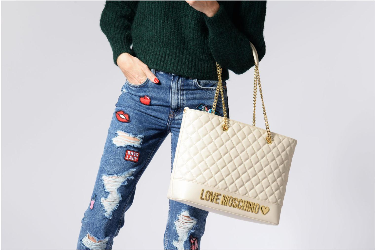 Sacs à main Love Moschino Cabas Chaine Super Quilted Blanc vue haut