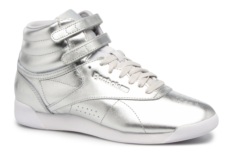 Baskets Reebok Freestyle Hi Metallic Argent vue détail/paire