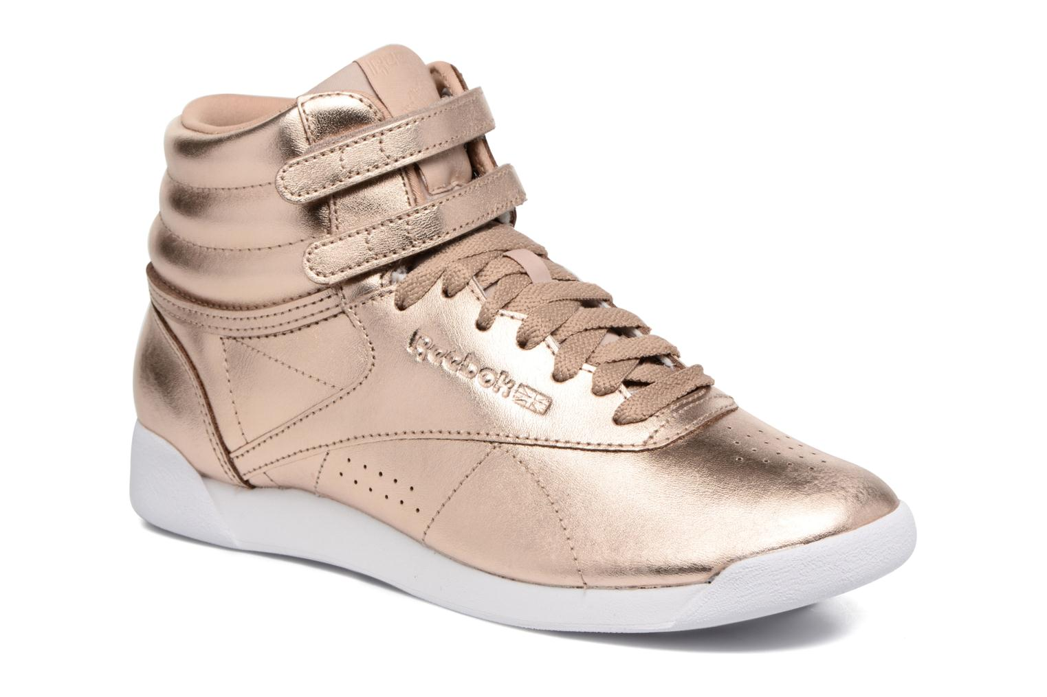 Trainers Reebok Freestyle Hi Metallic Bronze and Gold detailed view/ Pair  view