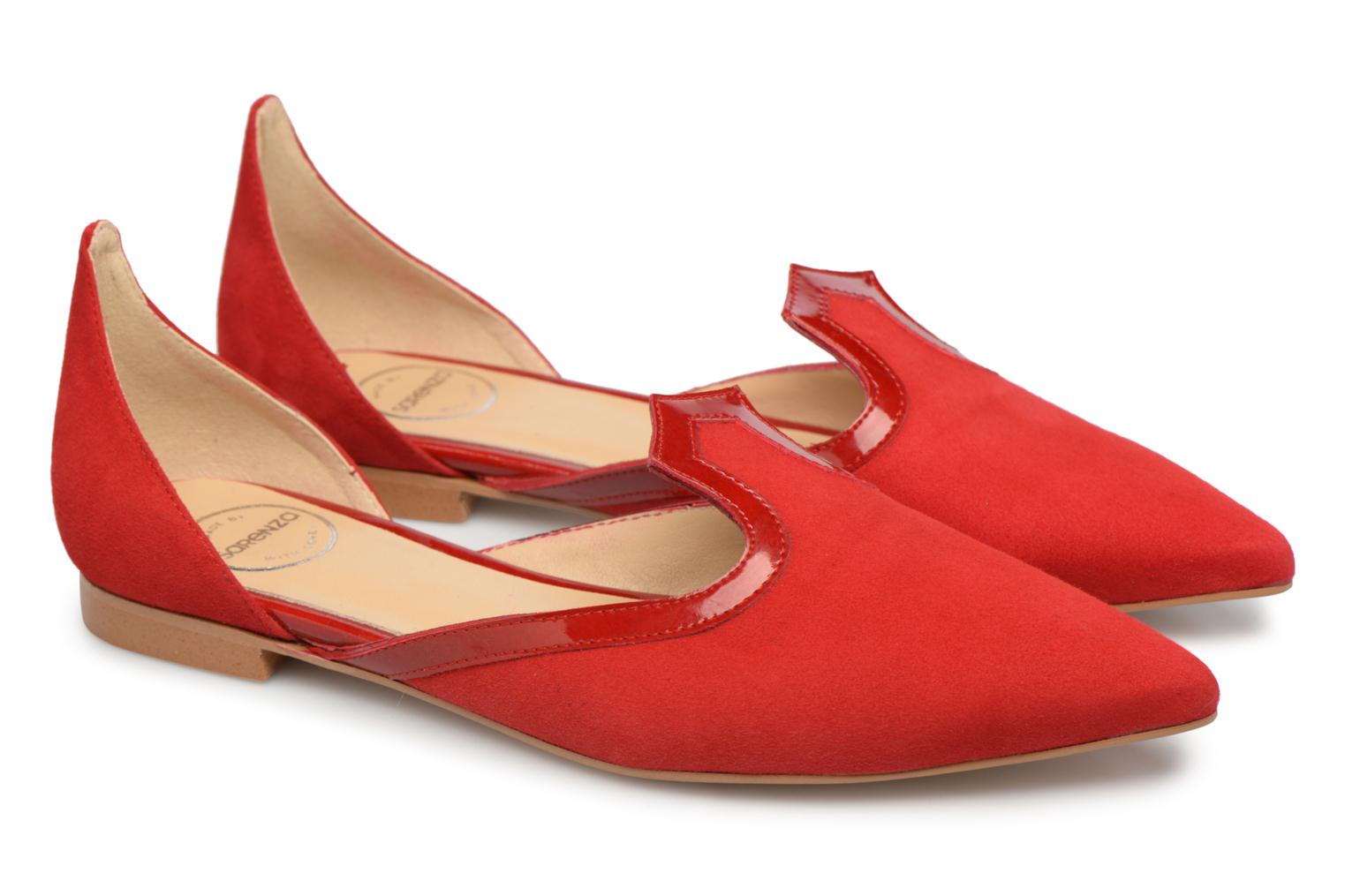 Bombay Babes Ballerines #3 cuir velours rouge