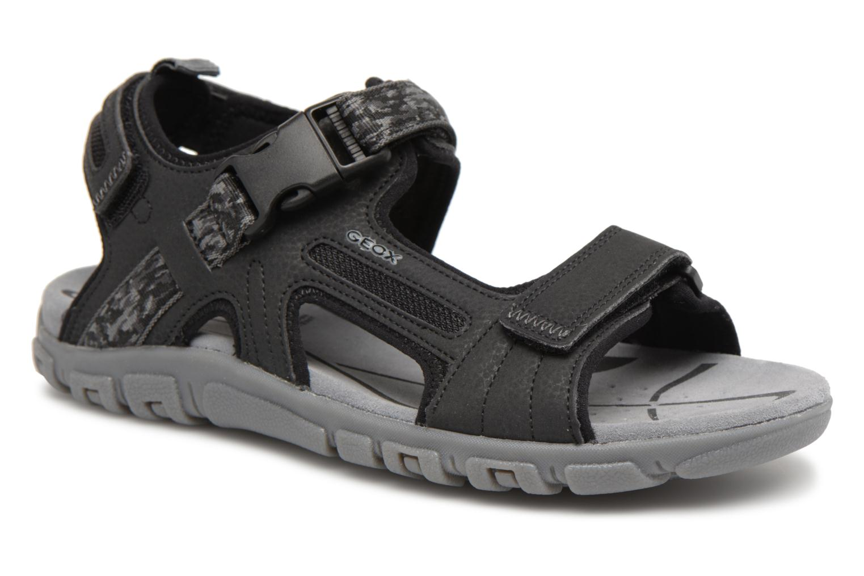 Sandals Geox U S.STRADA A U8224A Black detailed view/ Pair view