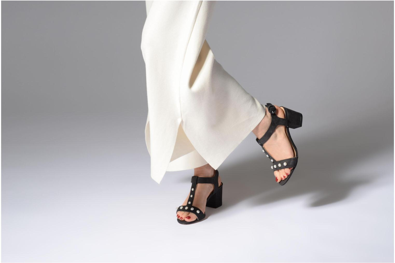 Sandales et nu-pieds Georgia Rose Lyperla Noir vue bas / vue portée sac