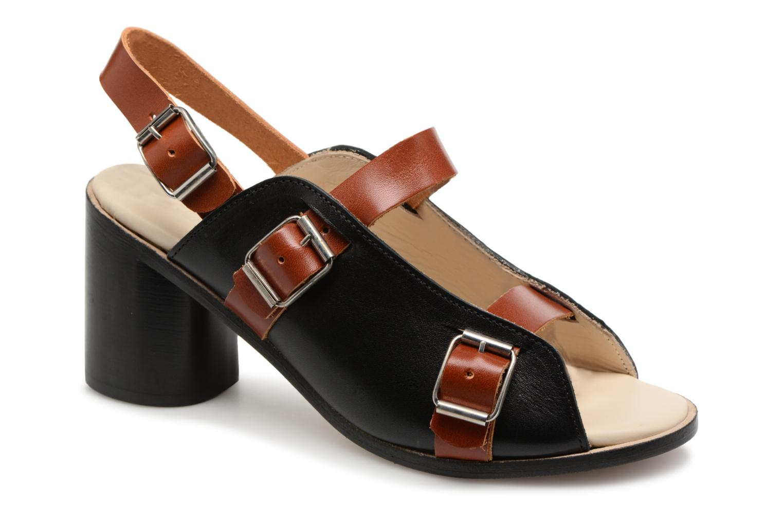 Marques Chaussure femme Deux Souliers femme Buckle Strap Sandal #1 Black and brown