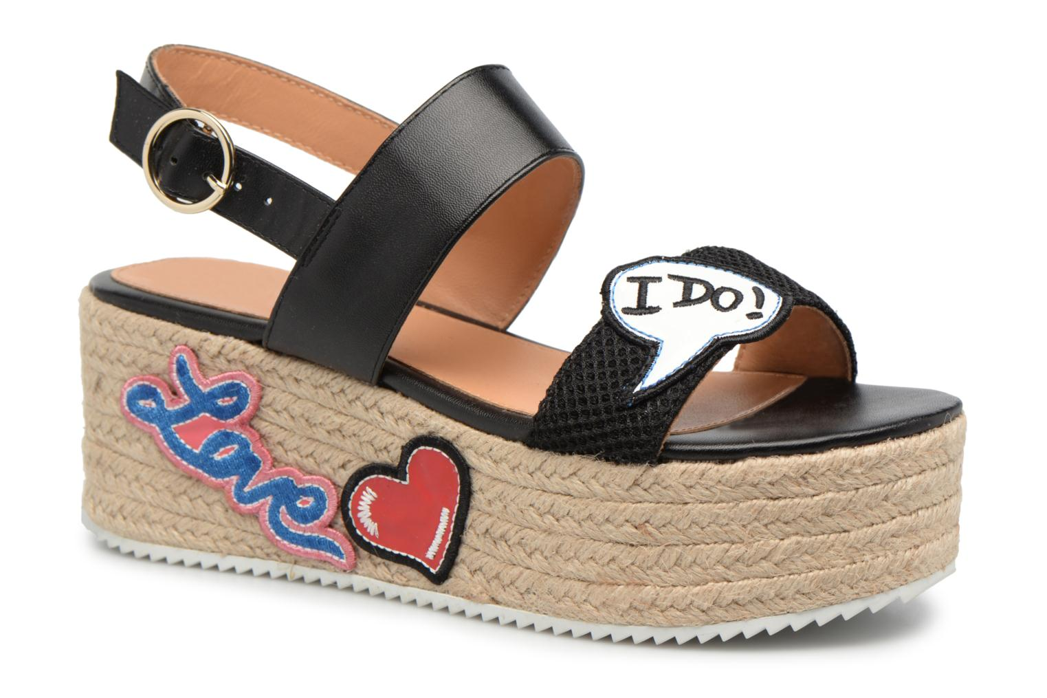 Love Moschino Funny Patches JA16087I15 (Marron) - Espadrilles chez Sarenza (317802)