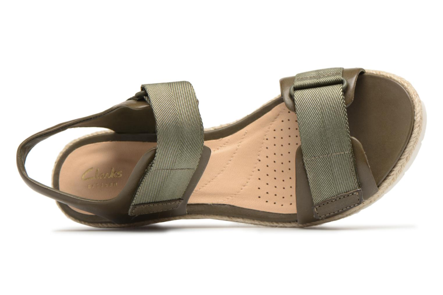 Sandals Clarks Palm Shine Green view from the left