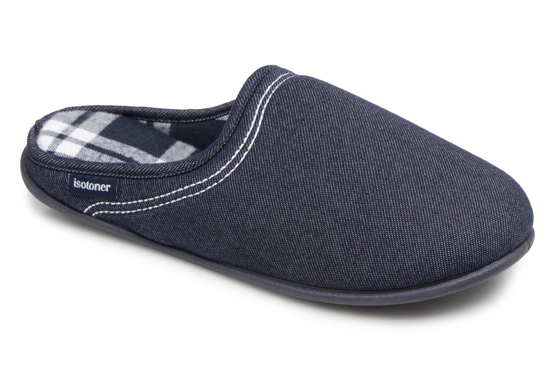 Isotoner Mule confort jersey et suédine (Bleu) - Chaussons chez Sarenza (322117)