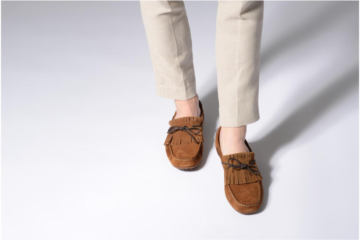 Loafers Marvin&co Sfringe Brown view from underneath / model view