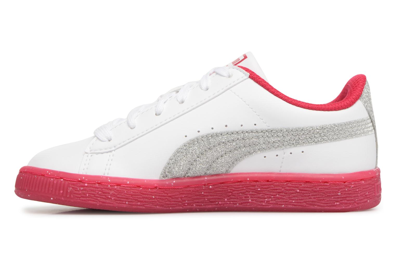 Baskets Puma PS BASKET ICED GLITTER Blanc vue face