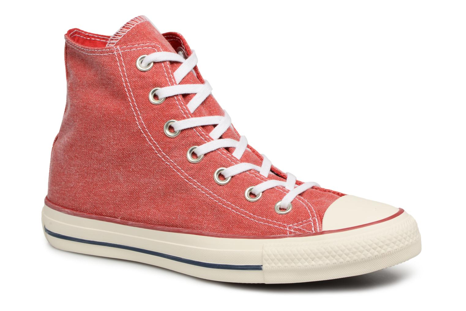 Converse Chuck Taylor All Star Stone Wash Hi W (Rouge) - Baskets chez Sarenza (324600)