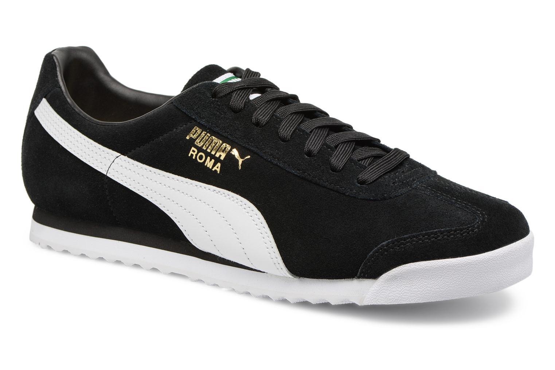 Marques Chaussure homme Puma homme Roma Suede Puma Black-Puma White-Puma Team Gold-