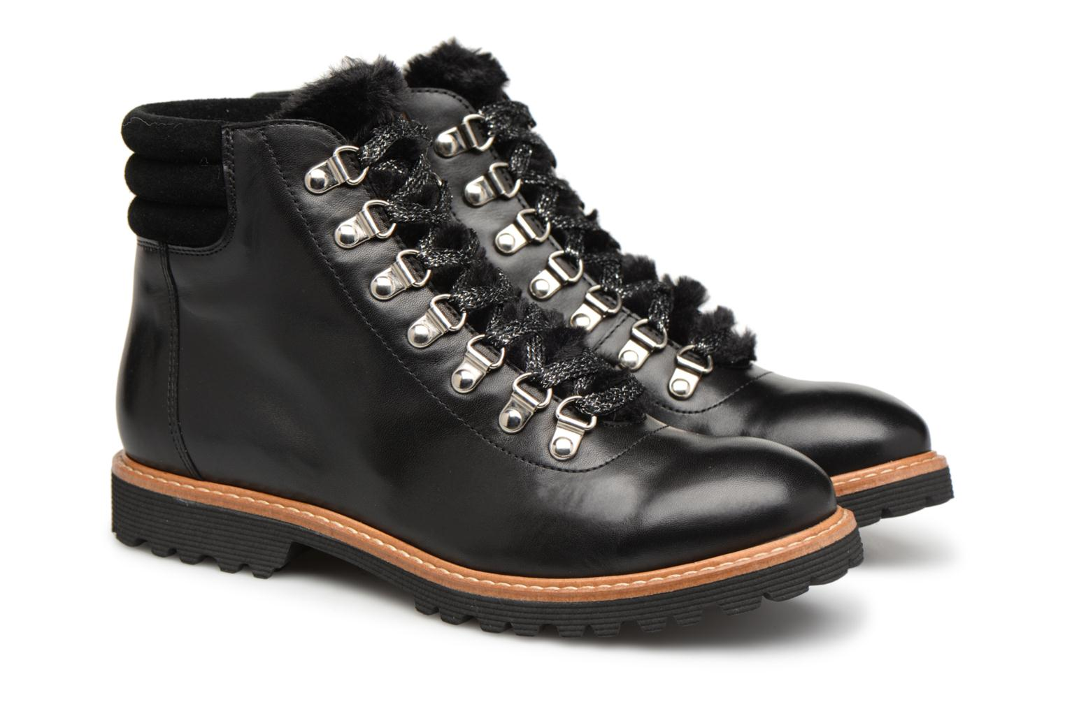 Toundra Bottines 2 SARENZA Plates Noir Cuir Made Lisse Girl by wpgqIE